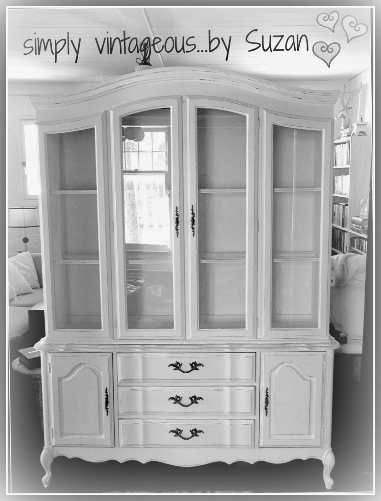 Painted hutch, annie sloan chalk paint, pure white