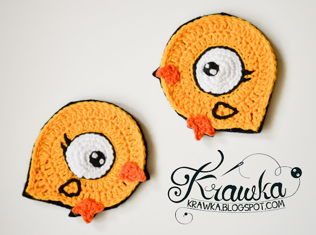 Krawka: Easter chicks - crochet coasters Free pattern.