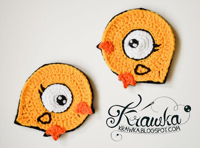 Krawka: Easter chicks - crochet coasters Free pattern.
