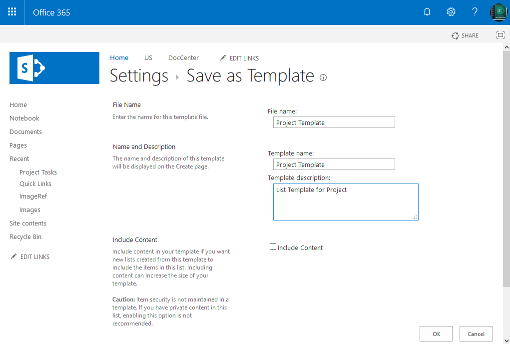sharepoint online save list as template powershell