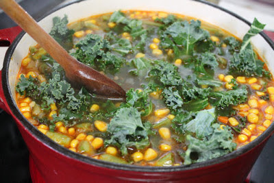 A Pot of Chorizo and Kale Soup