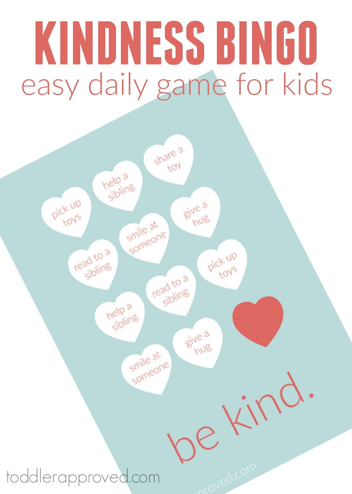 Toddler Approved Quick Daily Kindness Bingo Game For Kids