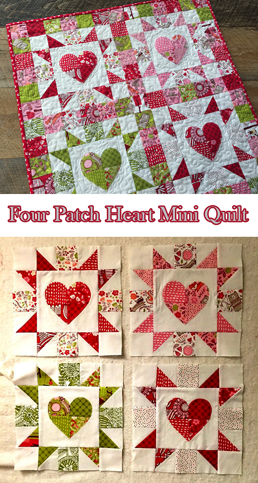 Four Patch Heart Mini Quilt Free Tutorial designed by Amanda Niederhauser for Therm-o-web