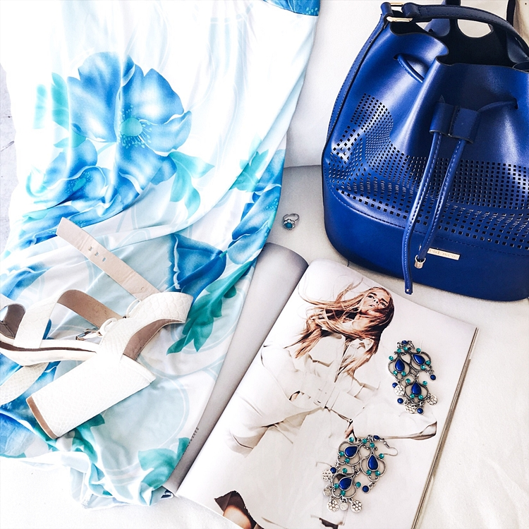 fashion flatlays blue and white theme