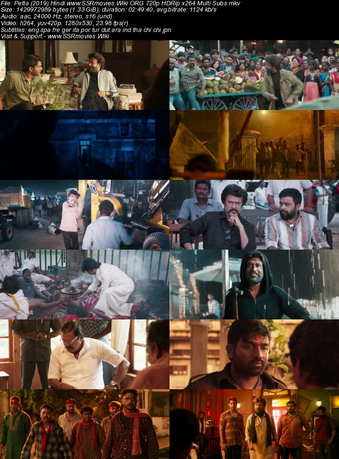 Petta (2019) Hindi ORG 480p HDRip x264 500MB Multi Subs Movie Download