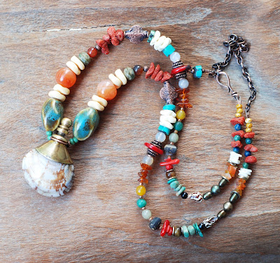 Handmade Shell Aroma Bottle Necklace with Red Coral, Turquoise, Agate