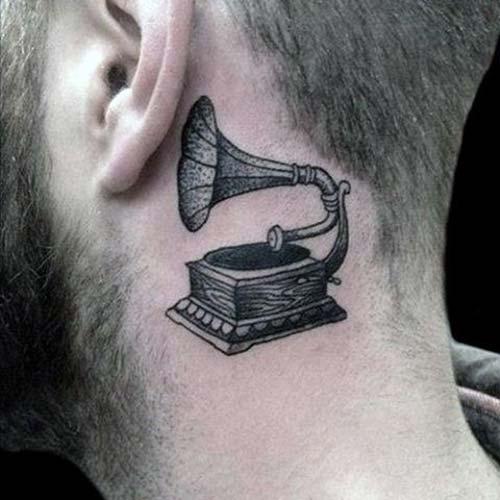 kulak arkası garamofon dövmesi behind ear gramophone tattoo