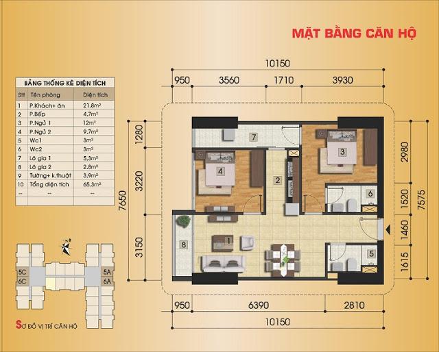 Thiết kế căn hộ 2 ngủ tại Gemek Premium