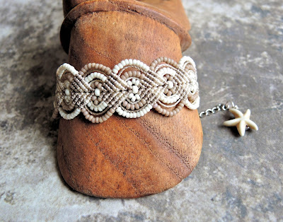 Micro macrame bracelet in neutral tans by Sherri Stokey.