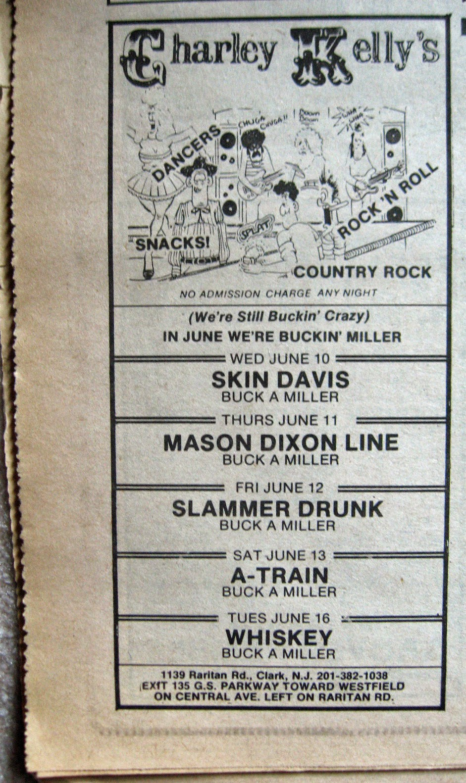 Charley Kelly's band line up June 1981