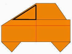 Bước 7: Vẽ cửa sổ để hoàn thành cách xếp xe ô tô Matiz bằng giấy origami đơn giản.