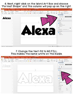 Step by step directions for creating name posters in PowerPoint