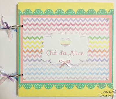 livro de mensagens álbum de memórias recordação assinatura lembranças festa chá de bebê fraldas fotos gestante personalizado chevron chevrom colorido delicado menina scrap scrapbook scrapbooking