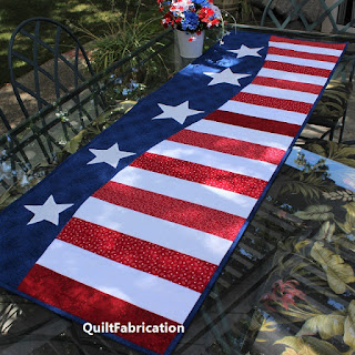 Patriotic-Wave-Fourth-of-July-Red-White-Blue-Table-Runner-Quilt Pattern
