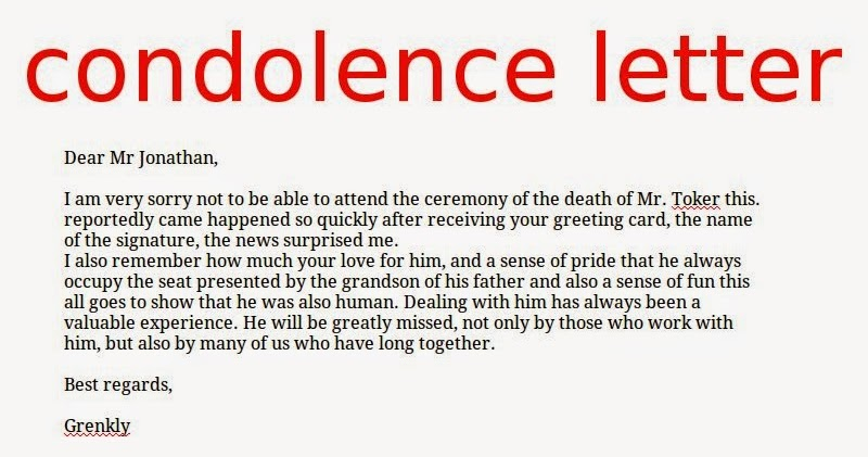 ... General Resume » Format Of Condolence Letter   Cover Letter And   Condolence  Letter Example ...