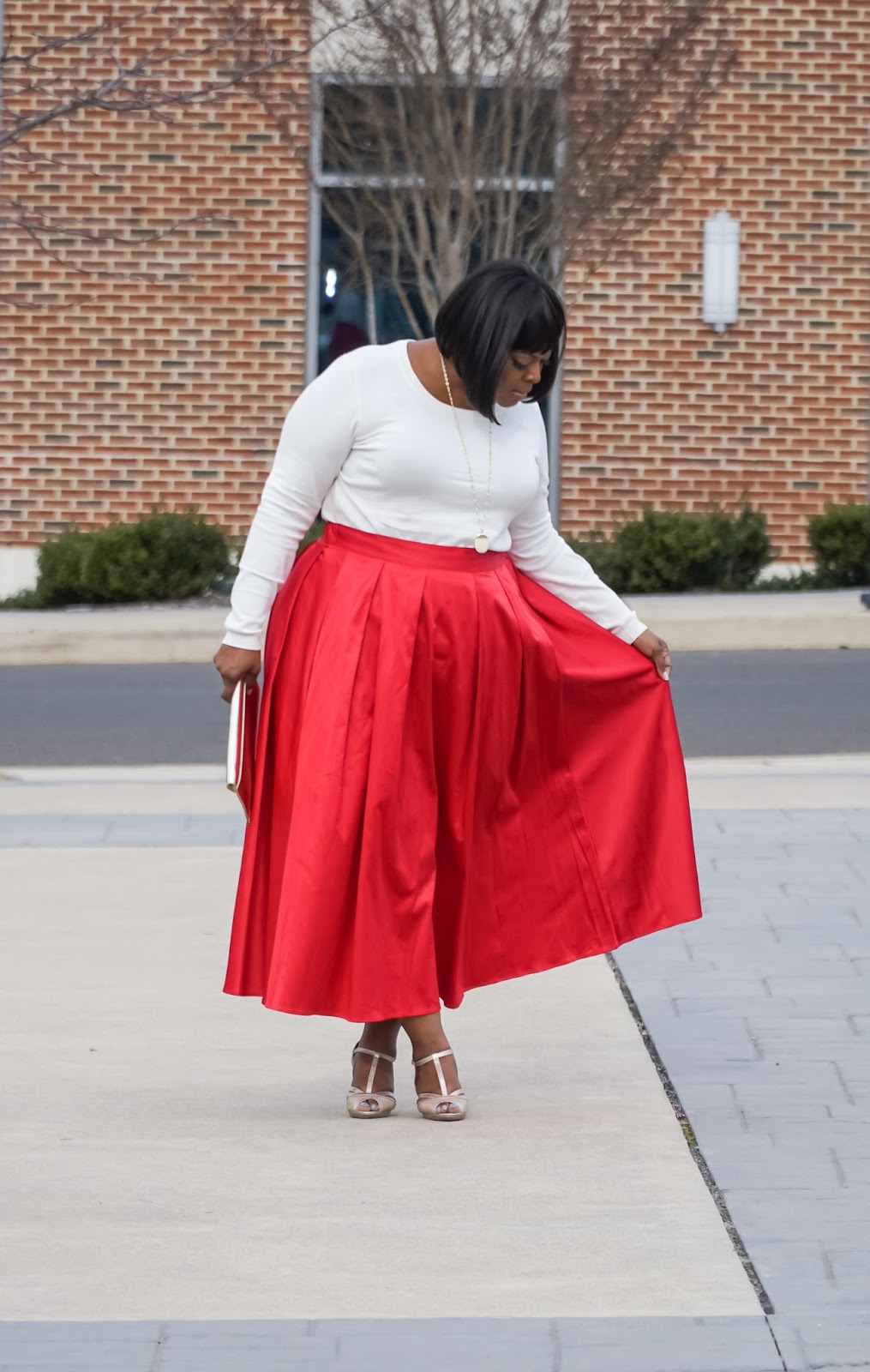 plus size flare skir, plus size red skirt, eloquii red skirt, eloquii skirt