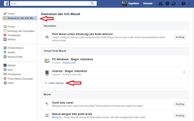 Facebook Keamanan dan Info Masuk