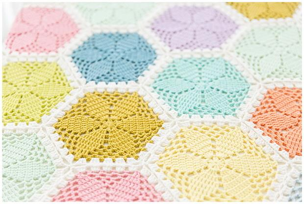crochet blanket, crochet flower hexagon motif