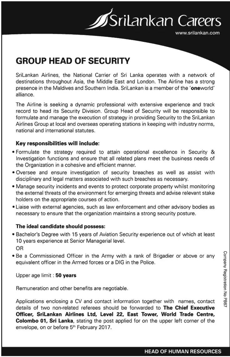 head of security srilankan airlines government jobs exams iq head of security srilankan airlines