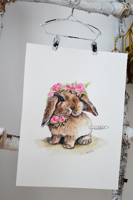 Królisia- 3/52 akwarelowy królik