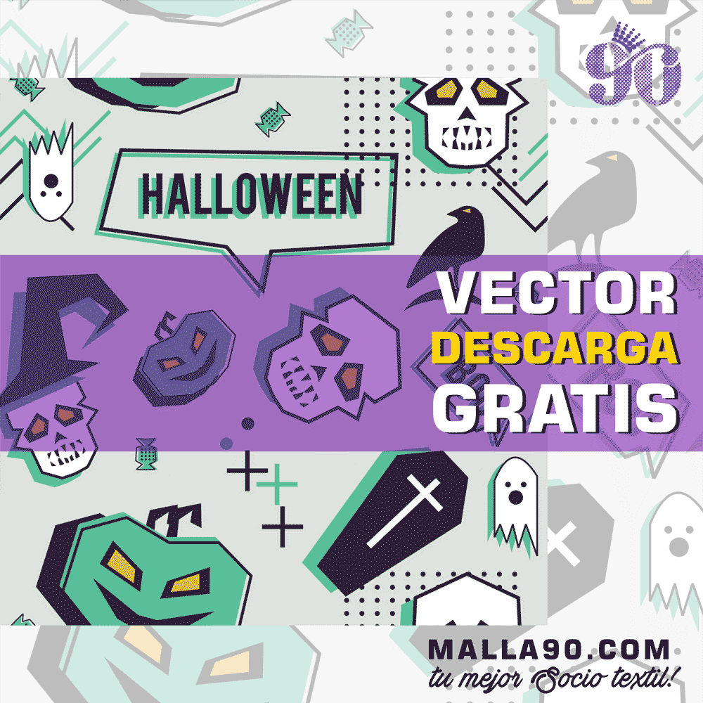 descarga vector de helloween patron boo