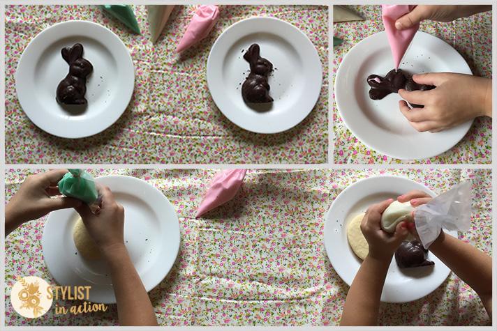 Para hacer con los chicos: Conejos de chocolate decorados con glasé para Pascuas