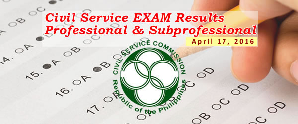 List of Passers: April 17, 2016 CSE-PPT (Professional) Results / Civil Service Exam - Paper Pencil Test