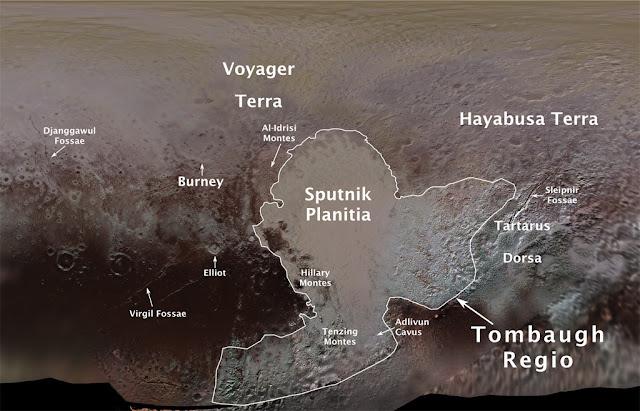 Nomes oficias das regiões de Plutão - revelados pela IAU
