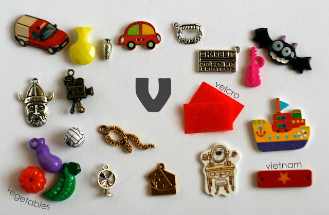 TomToy Individual letter V I spy trinkets for alphabet, Miniature abc objects, Montessori alphabet. Sorting toddler activities