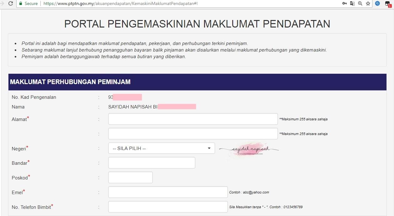 Cara Kemaskini Maklumat Pendapatan PTPTN Secara Online