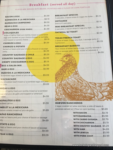 breakfast menu at Taco la Gardenia in San Antonio, Texas
