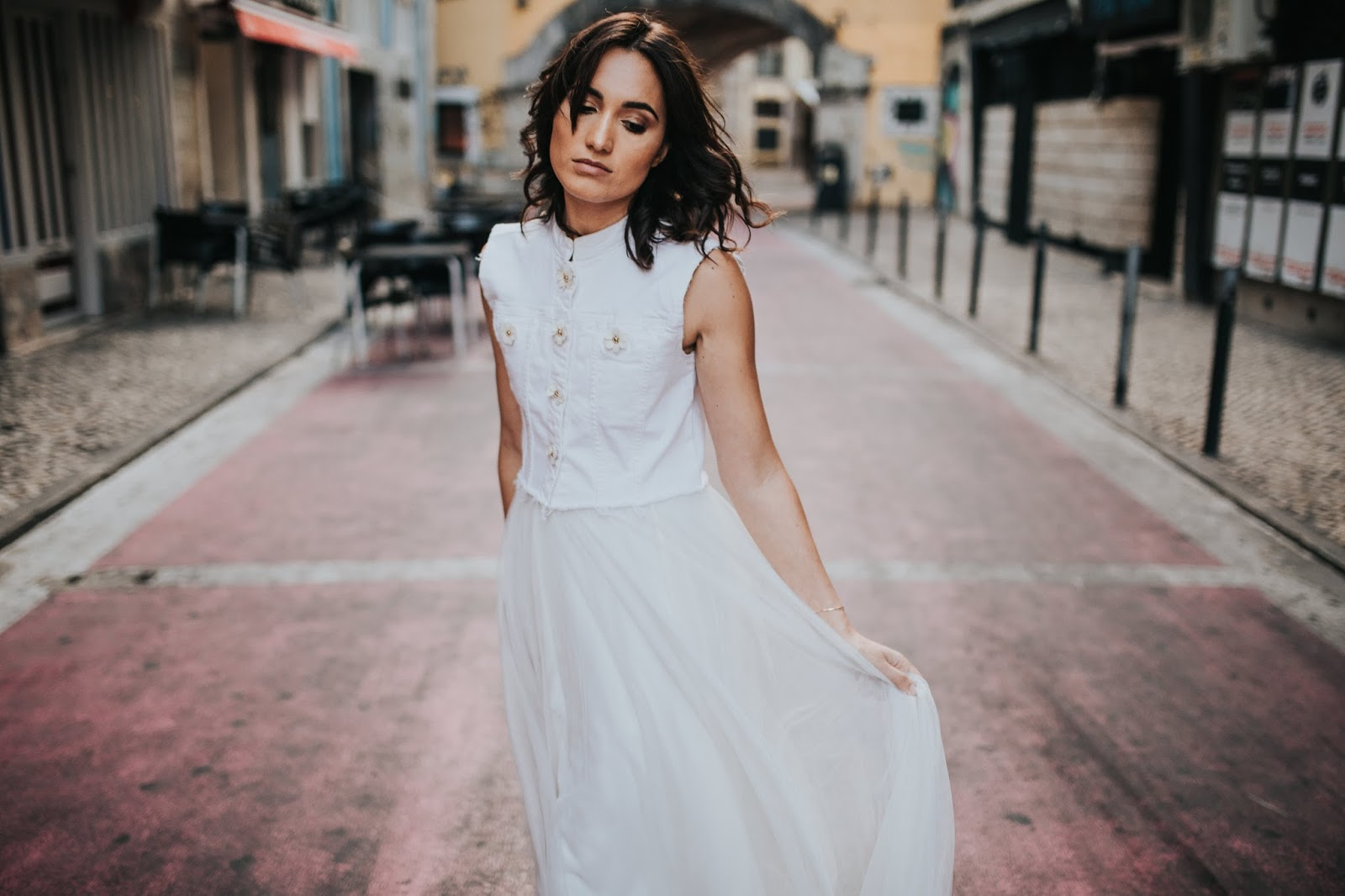 vest and skirt wedding dresses