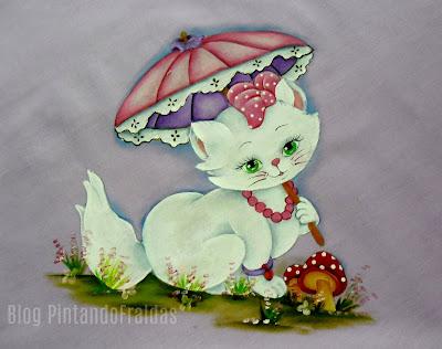 manta com pintura da gata marie com guarda sol