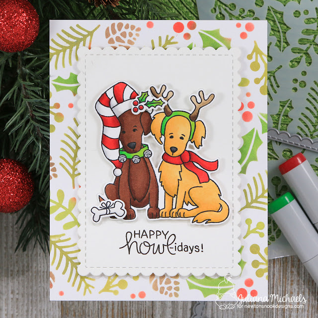 Golden Retriever Dog Lover Christmas Card by Juliana Michaels featuring Newton's Nook Designs Happy Howl-idays Stamp Set