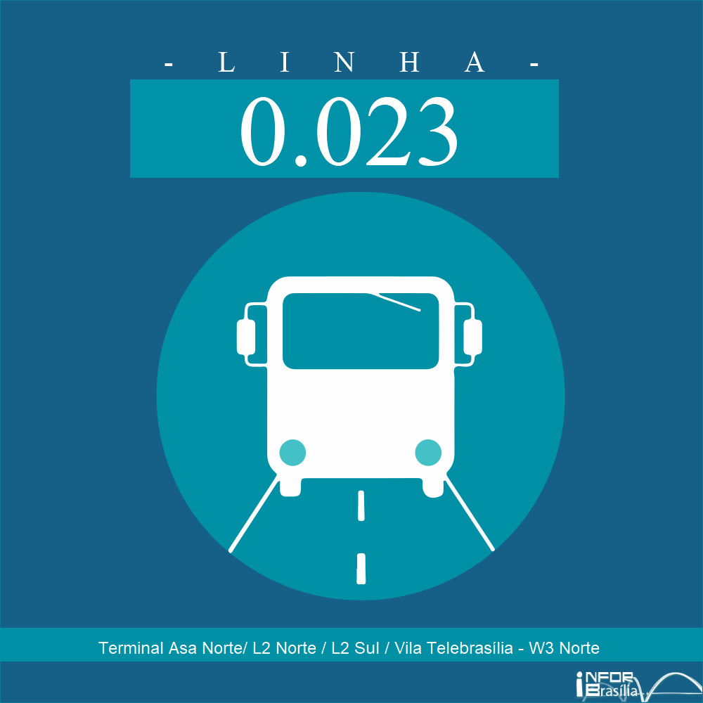 Horário de ônibus e itinerário 0.023 - Terminal Asa Norte/ L2 Norte / L2 Sul / Vila Telebrasília - W3 Norte