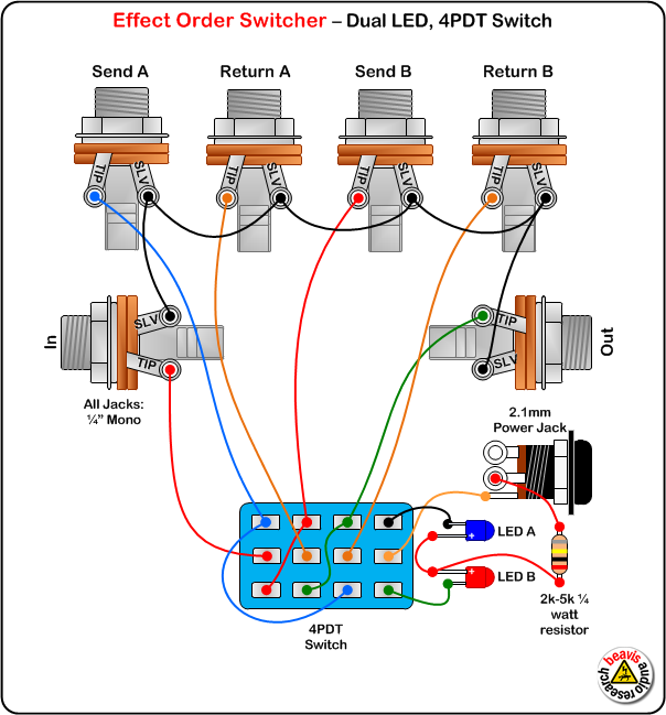Stompboxed The Guitar Pedal Builders Repository Loopers 4P2T Switch Diagram A 4pdt Switch Diagram B