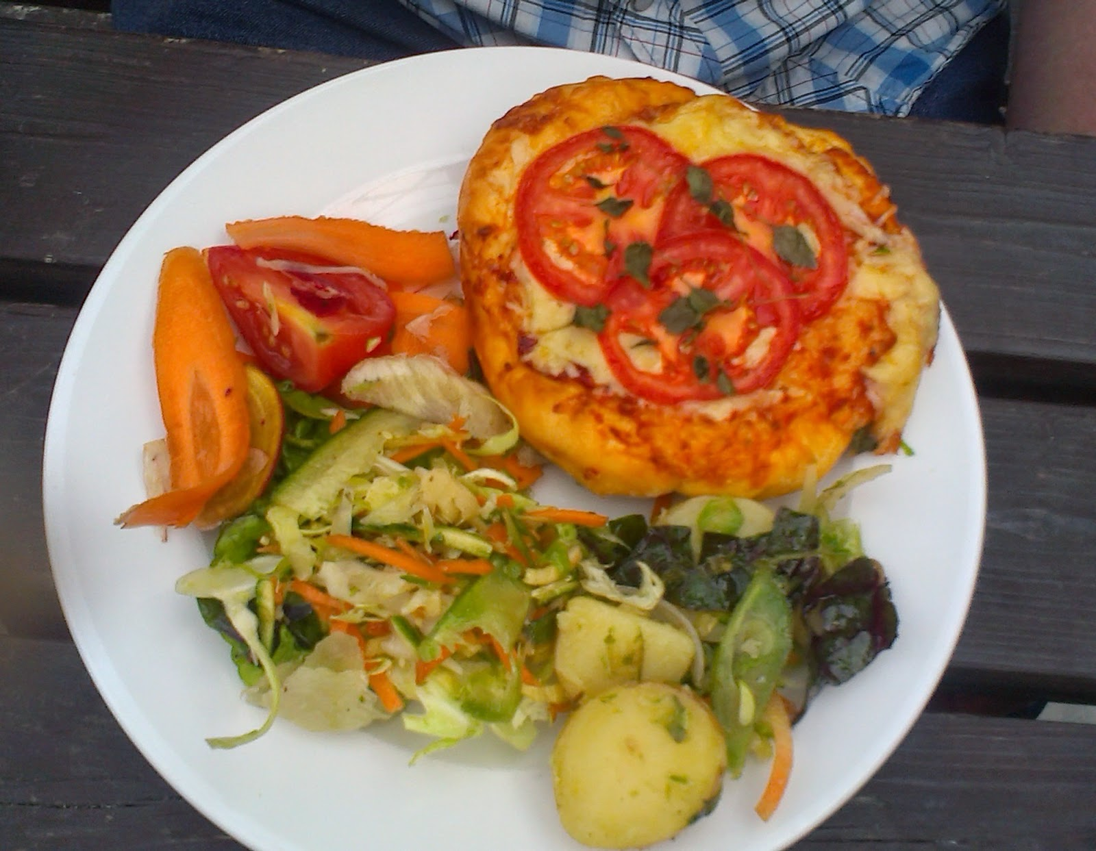 The Lost Gardens of Heligan, Cornwall - cheese and tomato pizza/quiche