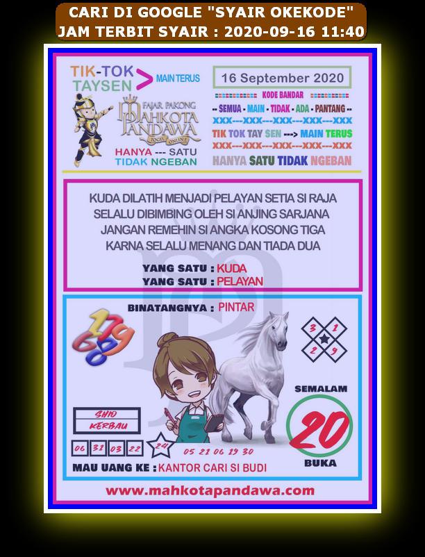 Kode syair Hongkong Rabu 16 September 2020 138