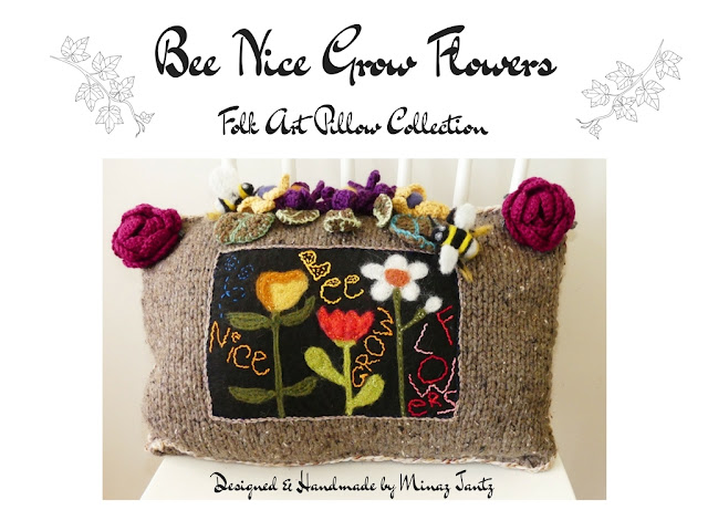 Bee Nice Grow Flowers in the Folk Art Pillow Collection by Minaz Jantz