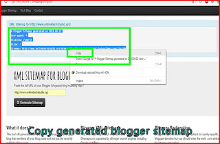 Copy generated blogger sitemap