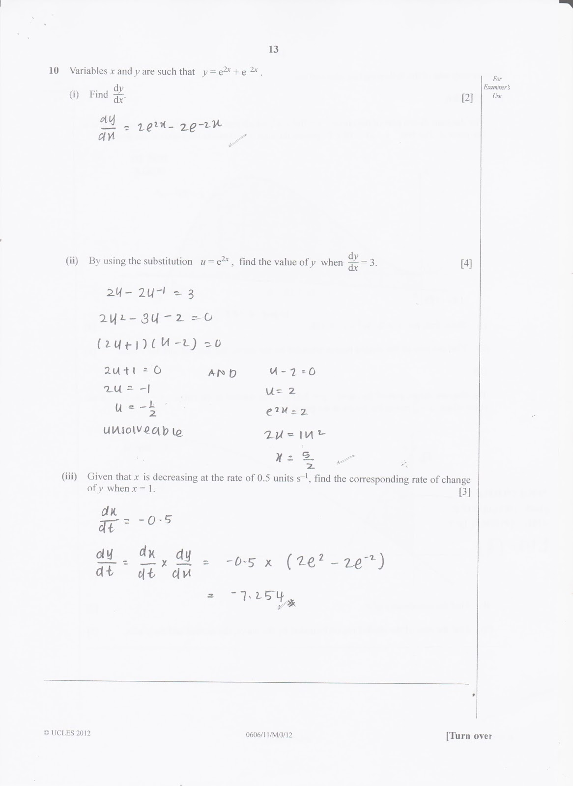 IGCSE Add Math Working Answer [0606/11] Paper 1 2012 (May