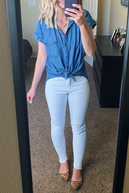 White jeans with a short sleeve chambray top