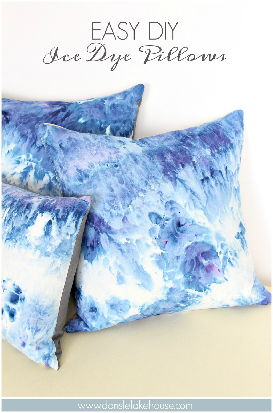 Easy Ice Dye Pillow Tutorial | @danslelakehouse