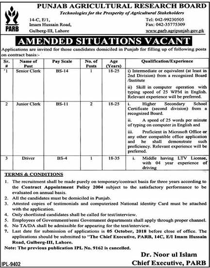 Amended Situation Vacant in Punjab Agriculture Research Board
