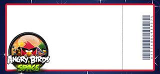 Tarjeta con Forma de Ticket de Fiesta de Angry Birds en el Espacio.