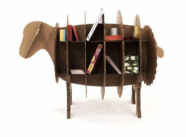 Bookshelf Made In The Shape Of Farm Animals Crafted From Recycled