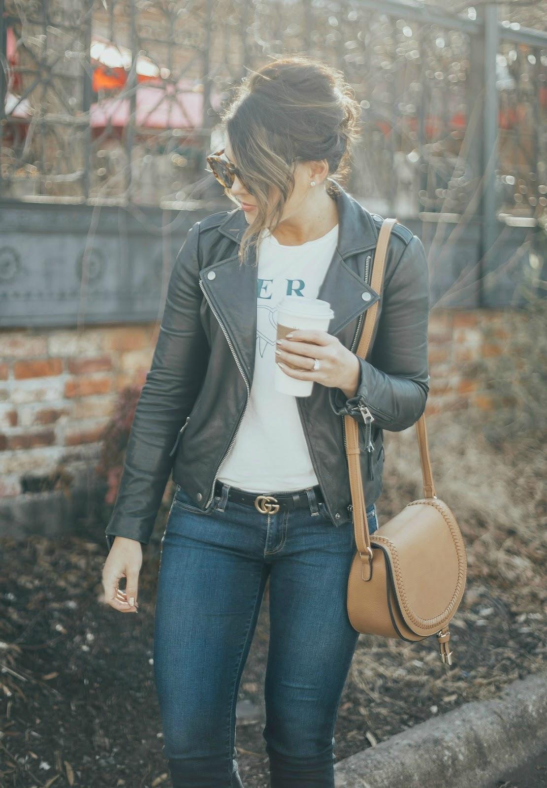 moto leather jacket, gucci marmont belt, life and messy hair, xo samantha brooke, sam brooke photo, samantha brooke photography, nc photographer, greensboro photographer, nc blogger, casual winter style
