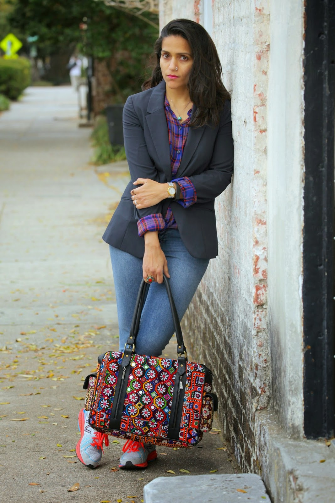 Blazer - ASOS Shirt - Joie Clothing Jeans - Zara  Bag - Crazy & Co.  Shoes - New Balance Tanvii.com