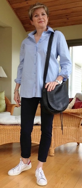 Blue shirt by Equipment, navy Veronica Beard cropped pants. Stan Smith Adidas, bag by Holt Renfrew