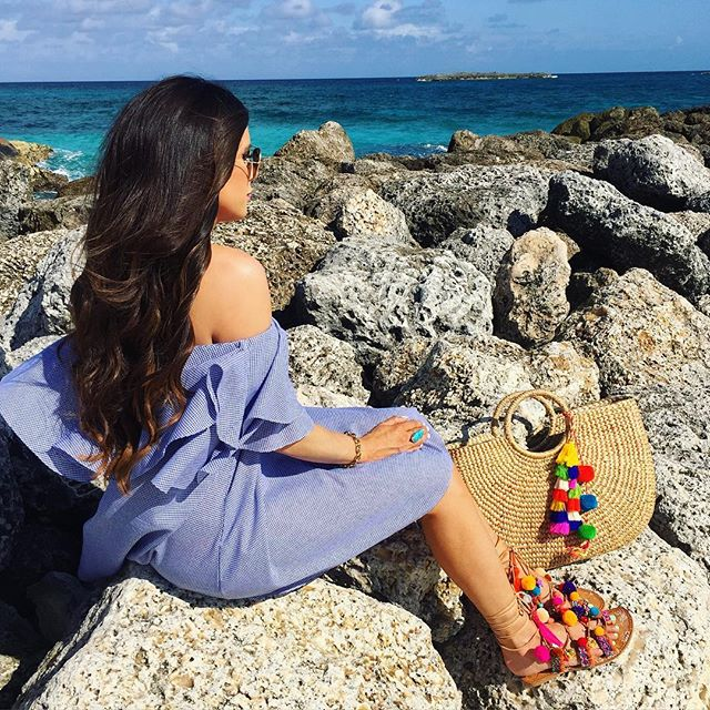 jade tribe bag, penny lane sandals, emily gemma blog, atlantis bahamas, MLM dress shopbop, gingham dress, off the shoulder dress gingham, summer beach vacation outfits